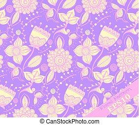 paarse , floral, het herhalen, pattern., gele