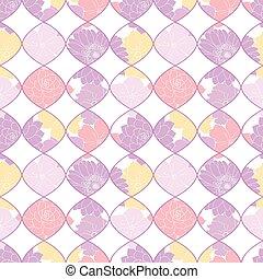 paarse , gele, geometrisch, vector, floral tichel, seamless, model, achtergrond