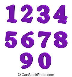 paarse , getallen, 3d