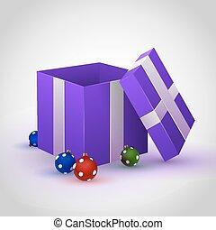 paarse , giftdoos, met, cristmas, speelbal