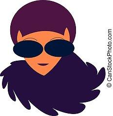 paarse , illustratie, haren kleuren, vector, dame, of