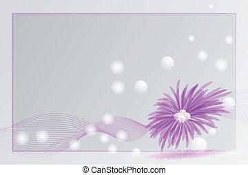 paarse , kaart, met, bloem