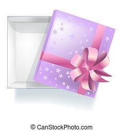 paarse , lege, giftbox