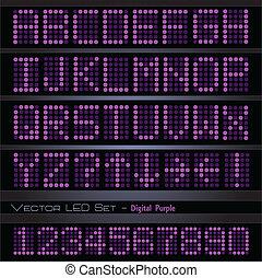paarse , lettertype, digitale