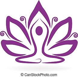 paarse , lotus, yoga, logo