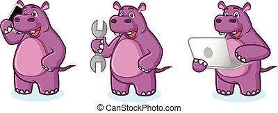 paarse , nijlpaard, draagbare computer, vector, mascotte