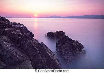 paarse , op, ondergaande zon , zee