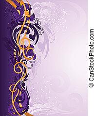 paarse , ornament, linten, goud