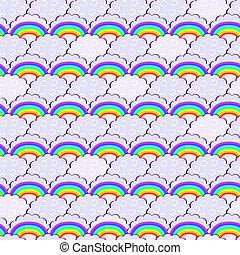 paarse , regenboog, wolken, seamless, model