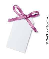paarse , roze, aantekening, lint, kaart
