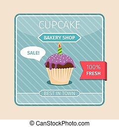paarse , schattig, kaart, kaarsje, cupcake