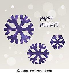 paarse , snowflakes, groet, bokeh, vector, ontwerp, mal, kaart