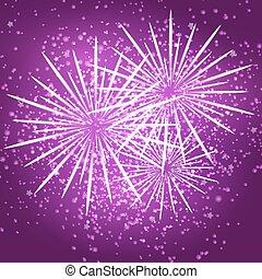 paarse , starry, vuurwerk, achtergrond.