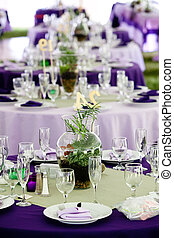 paarse , tafels, groene, trouwfeest