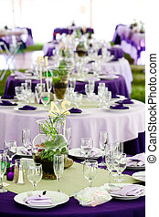 paarse , tafels, -, groene, trouwfeest