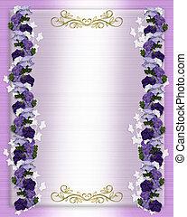 paarse , trouwfeest, petunias, uitnodiging