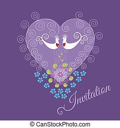 paarse , uitnodigen, met, twee, liefdevogels