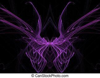 paarse , vlinder, fractal, vleugels