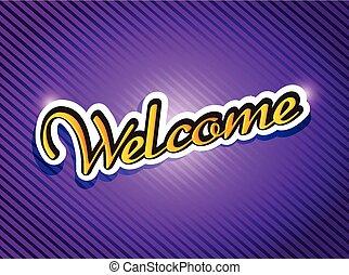 paarse , welkom, ontwerp, kaart, illustratie