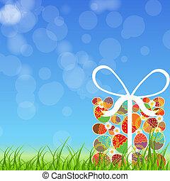 paaseitjes, kaart, met, kleurrijke, eggs., vector,...
