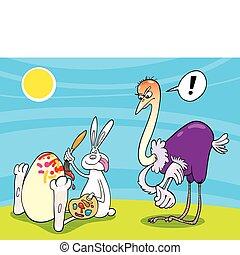 paashaas, en, struisvogel