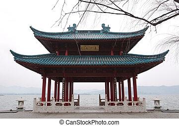 pabellón, chino, oeste, hangzhou, orilla, tradicional, lago...