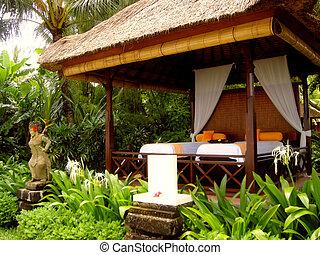 pabellón, indonesia), tropical, recurso, (bali, masaje