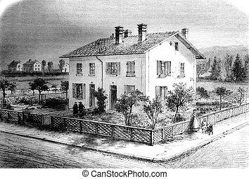 pabellón, propiedades, engraving., cuatro, casas, mulhouse, vendimia, caja