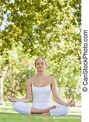 pacífico, atractivo, mujer que medita, en, un, parque