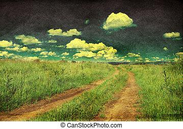 pacífico, paisaje, con, camino de país, retro, diseñar, foto