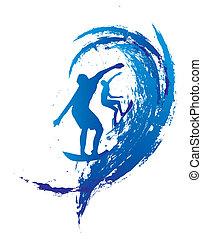 pacífico, surfista, vetorial, projeto gráfico