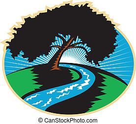 pacana, árbol, río sinuoso, salida del sol, retro
