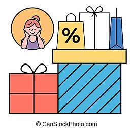 pacchetti, carichi, felice, vettore, donna, ragazze