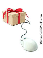 pacchetto, computer, regalo, collegato, topo