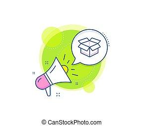 pacchetto, segno., consegna, aperto, icon., vettore, carico, package., scatola, linea