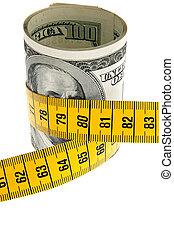 pacchetto, simbolo, conto, dollaro, metro a nastro, economia