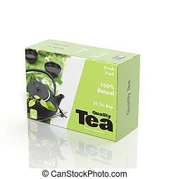 pacchetto, tè, isolato, carta, bianco, 3d