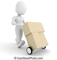 pacchetto, -, uomo, consegna, 3d