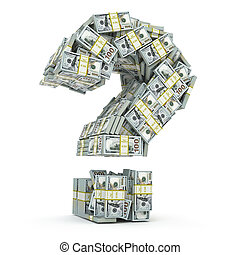 pacchi, domanda, dollaro, isolato, segno, white., dove