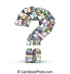 pacchi, domanda, isolato, segno, white., euro