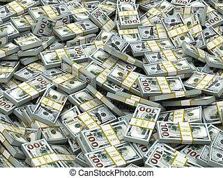 pacchi, lotti, dollari, soldi., contanti, fondo.