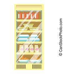 pacchi, supermercato, plastica, frigorifero, cartone, contenitori