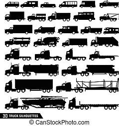 pacco, silhouette, set, camion, icone
