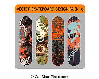 pacco, skateboard, disegno, 16