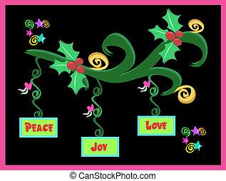 pace, amore, decorazioni natale, gioia