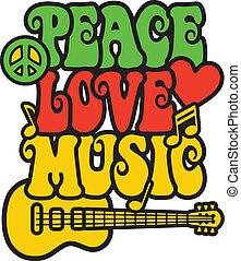 pace, amore, musica, in, rasta, colori