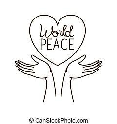 pace, carattere, avatar, mani, mondo, ricevimento