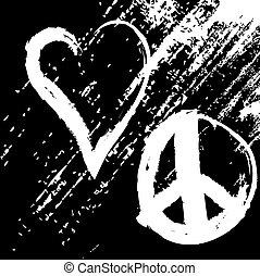 pace, disegno, vettore, amore, grunge