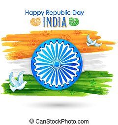 pace, esposizione, volare, tricolore, bandiera, indiano, colomba