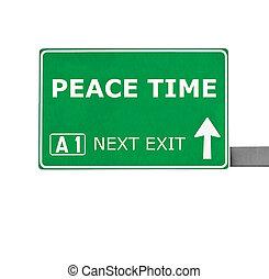 pace, isolato, segno, tempo, bianco, strada